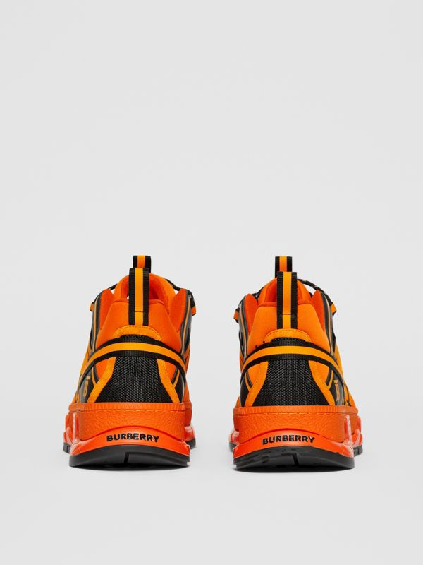 Nylon, Suede and Leather Union Sneakers in Bright Orange - Men | Burberry United Kingdom - cell image 3