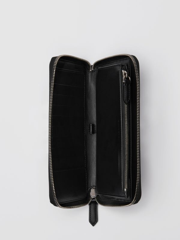 Vintage Check and Leather Ziparound Wallet in Antique Yellow/black - Men | Burberry Australia - cell image 3