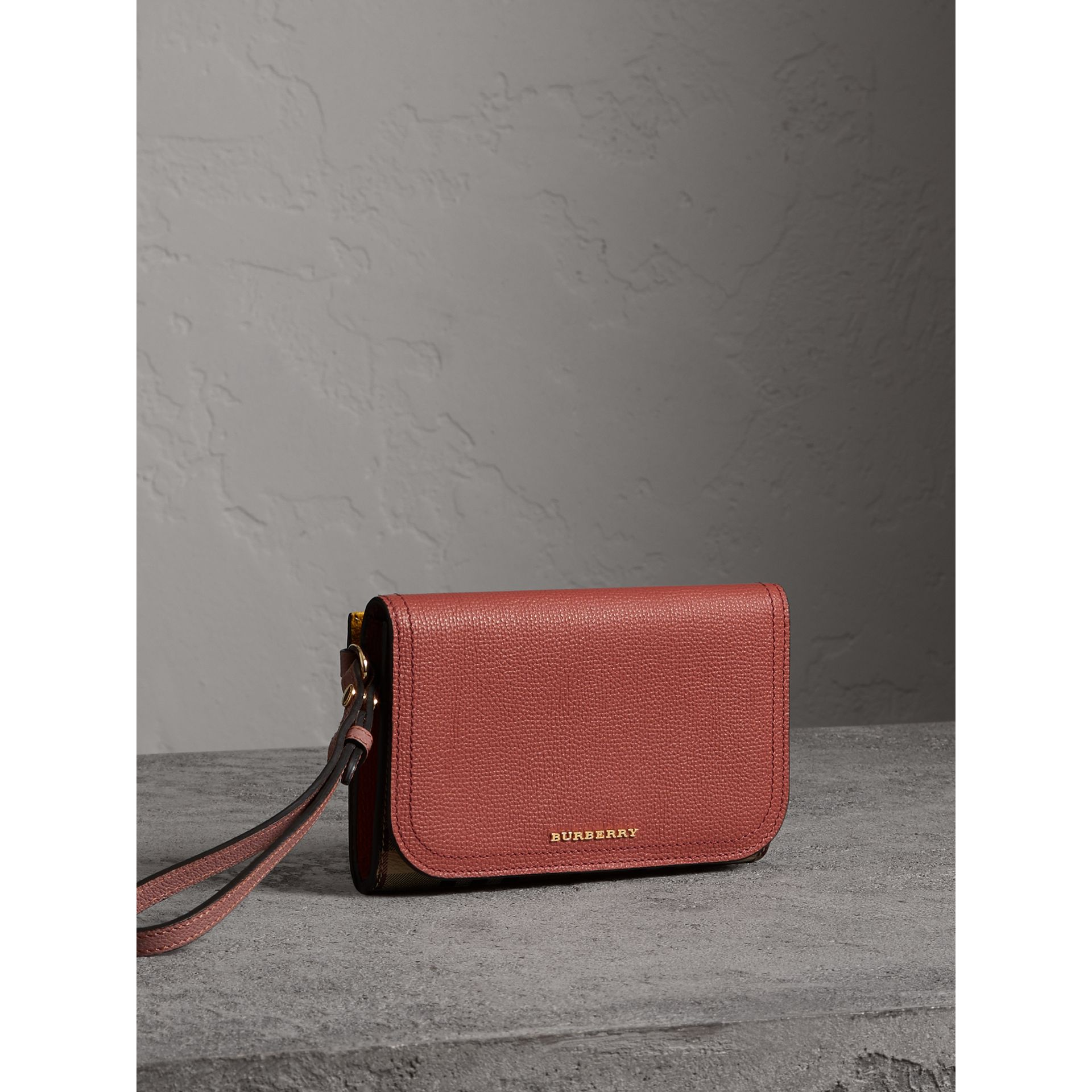 Leather and Haymarket Check Wristlet Wallet in Cinnamon Red/multicolour - Women | Burberry - gallery image 6