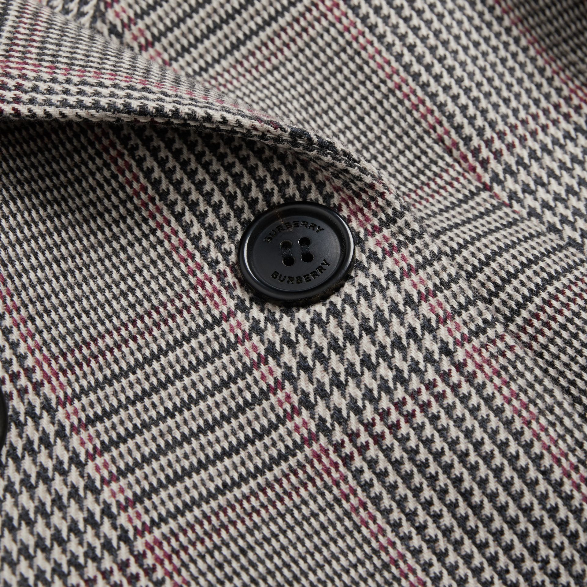 Prince of Wales Check Wool Cotton Blend Coat in Slate Blue Melange | Burberry United Kingdom - gallery image 1