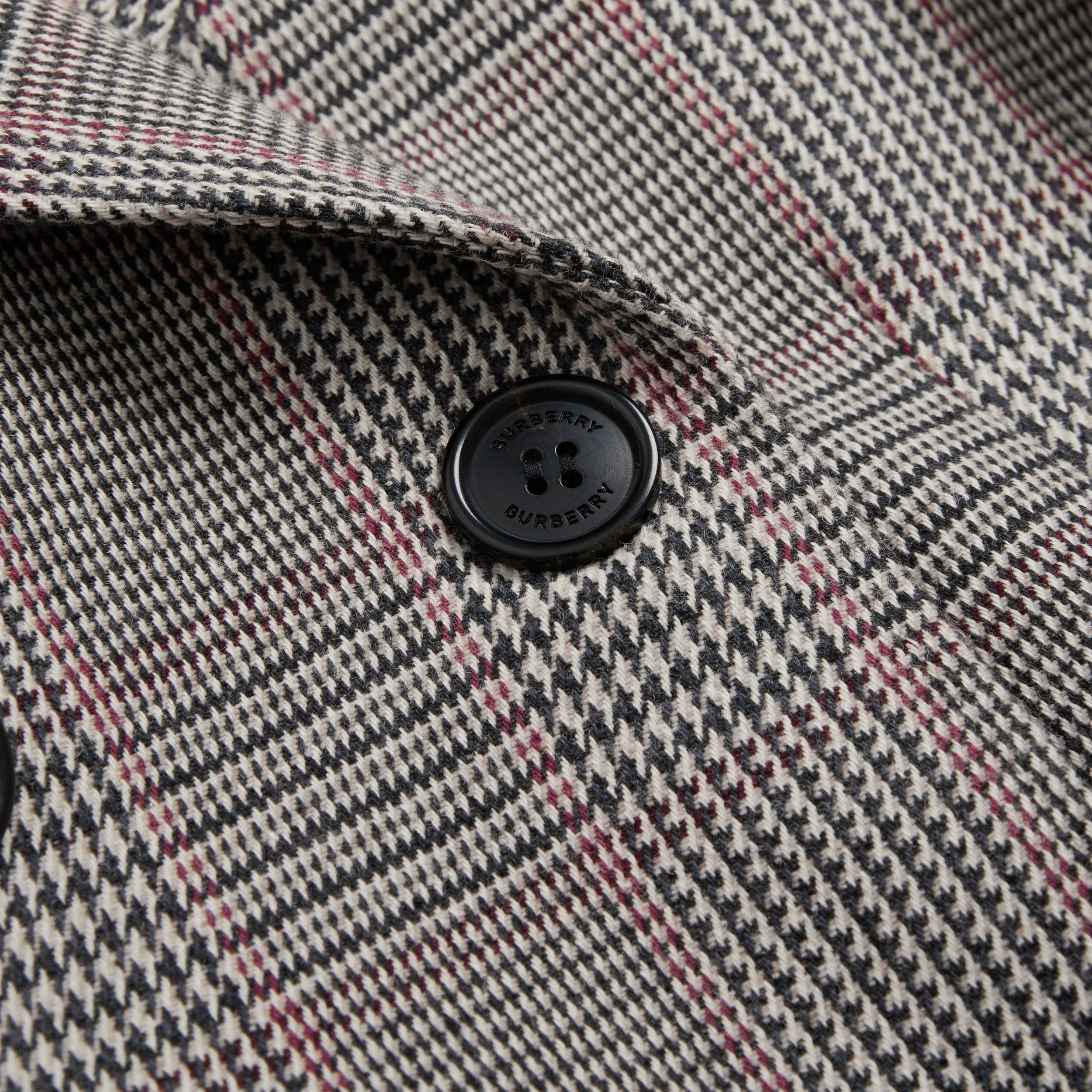 Prince of Wales Check Wool Cotton Blend Coat in Slate Blue Melange | Burberry - 2
