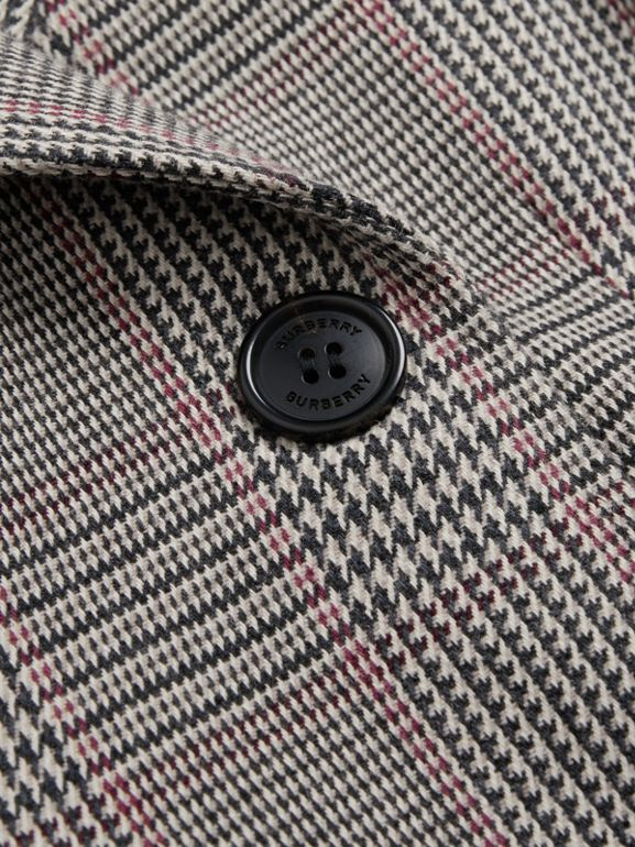 Prince of Wales Check Wool Cotton Blend Coat in Slate Blue Melange | Burberry United States - cell image 1