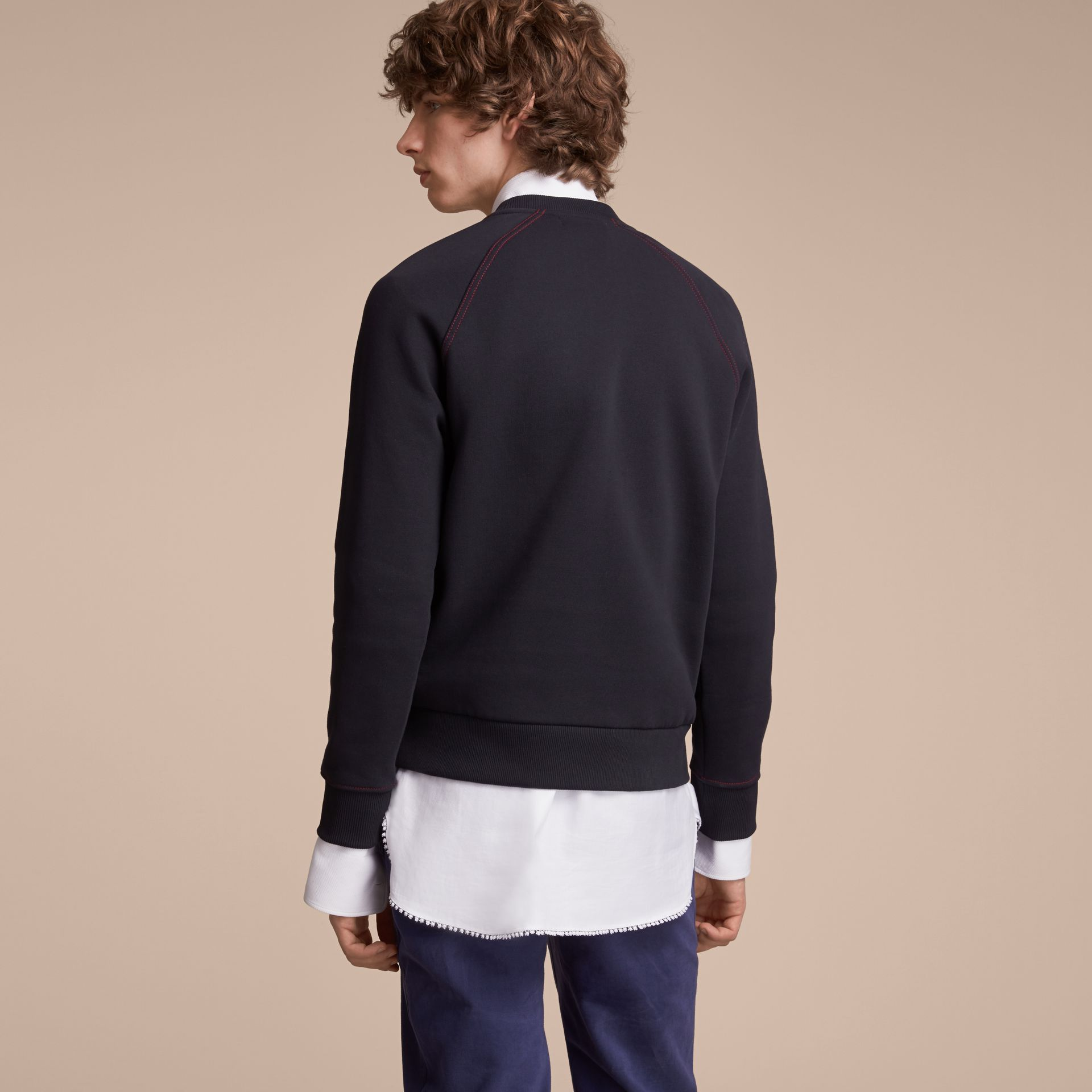 Embroidered Jersey Sweatshirt in Navy - Men | Burberry Australia - gallery image 3