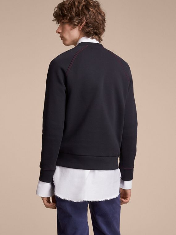Embroidered Jersey Sweatshirt in Navy - Men | Burberry Australia - cell image 2