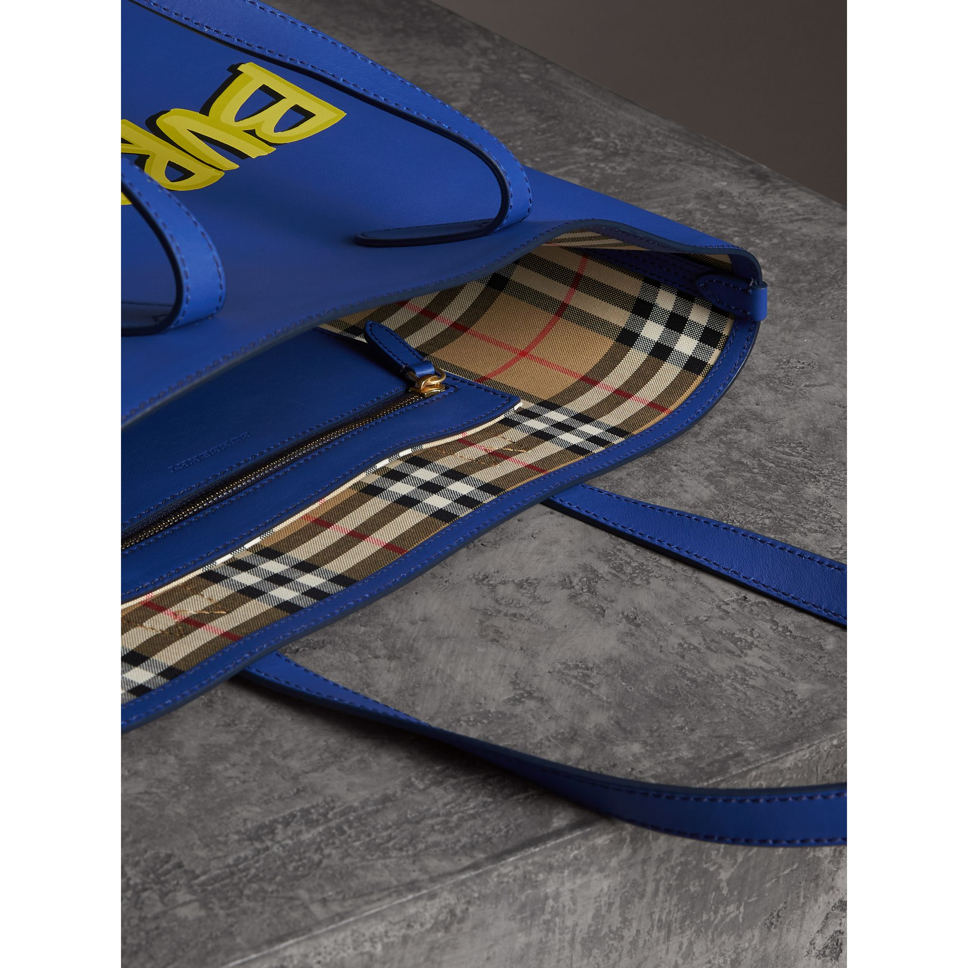 Graffiti Print Bonded Leather Tote in Denim Blue | Burberry - gallery image 3