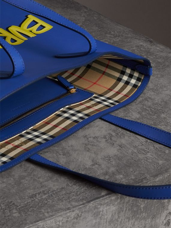 Graffiti Print Bonded Leather Tote in Denim Blue | Burberry United States - cell image 3