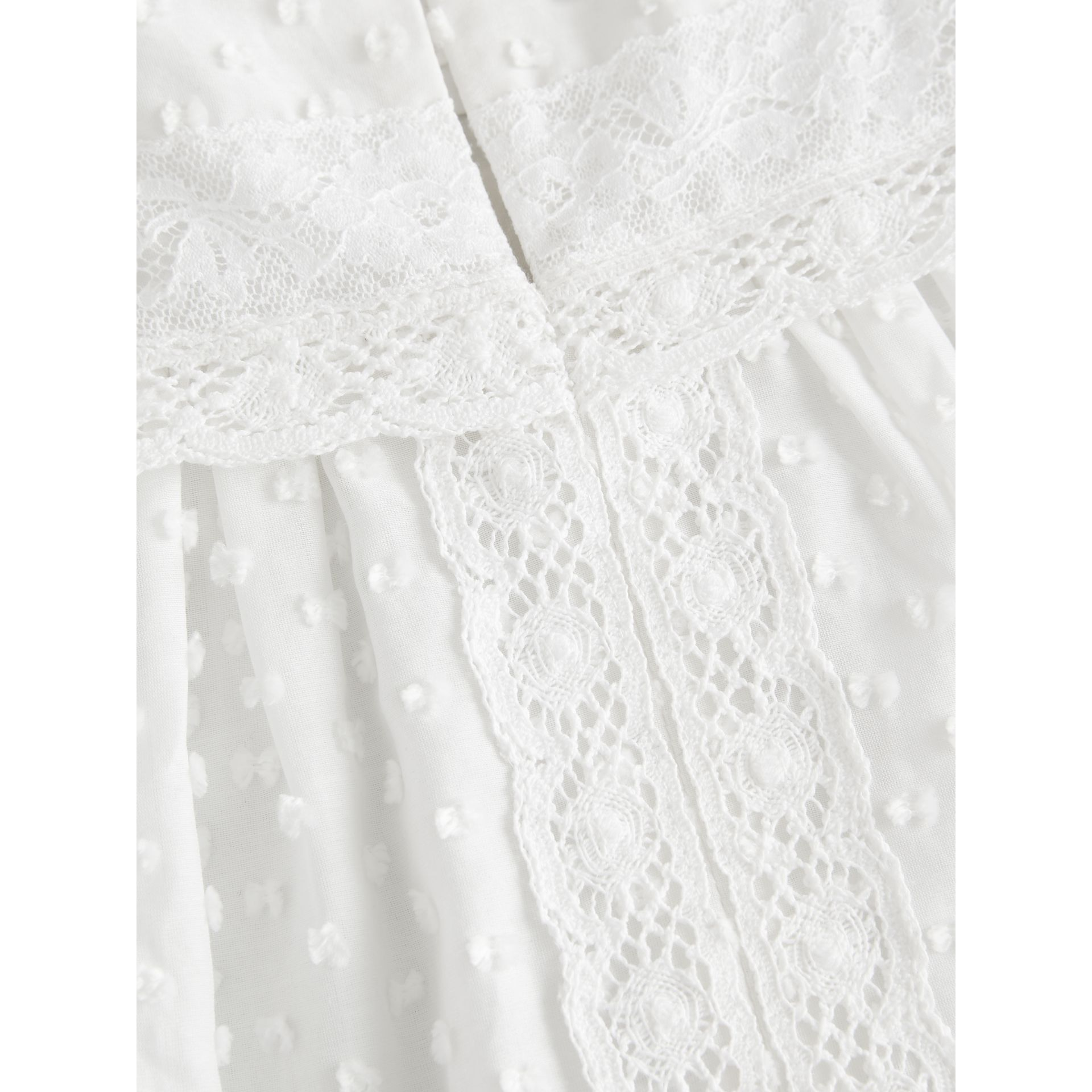 Ruffle Detail Cotton Silk Blend Top in White | Burberry - gallery image 1