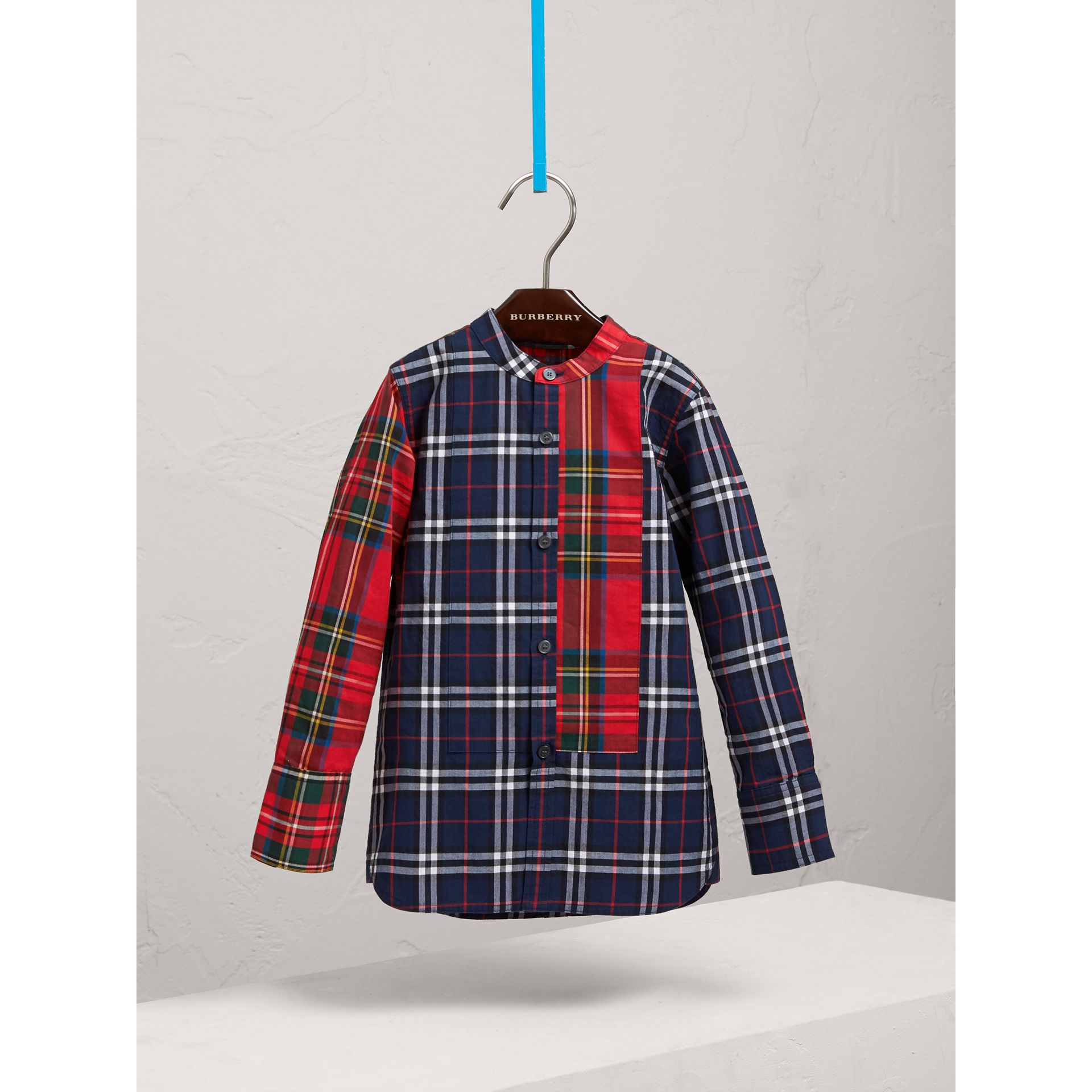 Panelled Tartan and Check Cotton Poplin Shirt in Navy - Boy | Burberry - gallery image 2