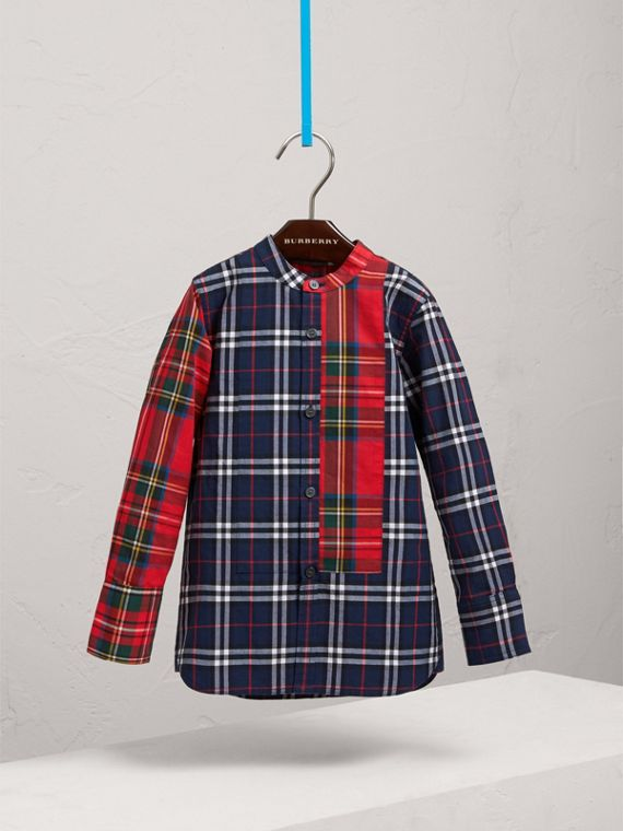 Panelled Tartan and Check Cotton Poplin Shirt in Navy - Boy | Burberry - cell image 2