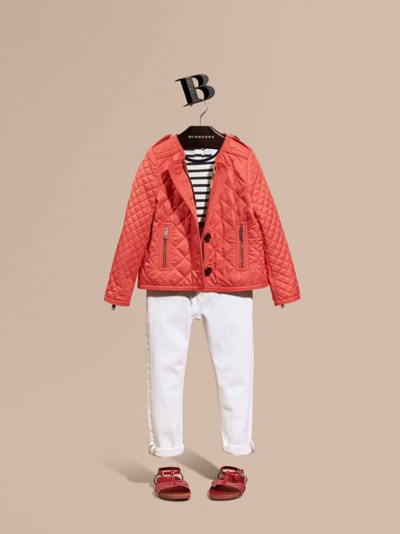 Collarless Diamond Quilted Jacket in Coral Red