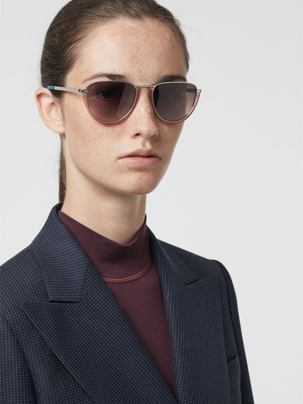 Half Moon Pilot Round Frame Sunglasses in Nude - Women | Burberry United Kingdom - cell image 2