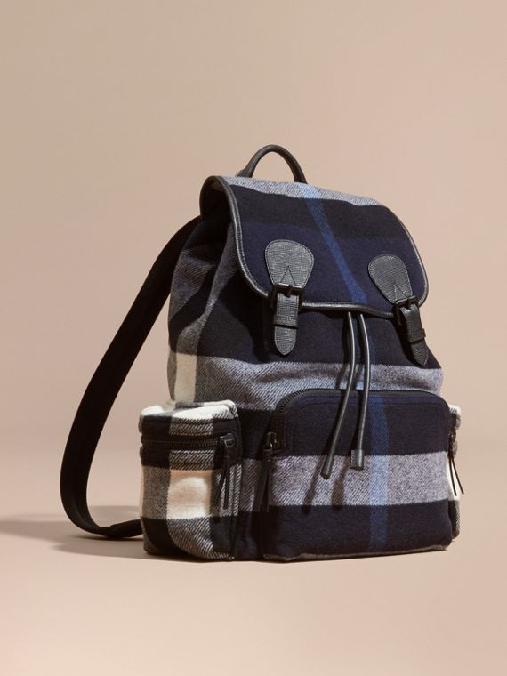 The Large Rucksack in Check Wool Blend and Leather Indigo Blue