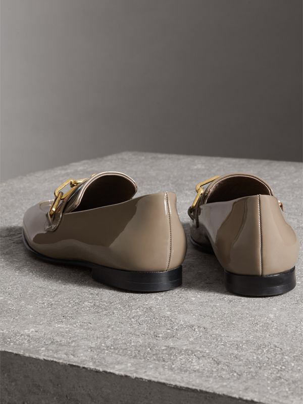 Link Detail Patent Leather Loafers in Taupe Grey - Women | Burberry United States - cell image 3