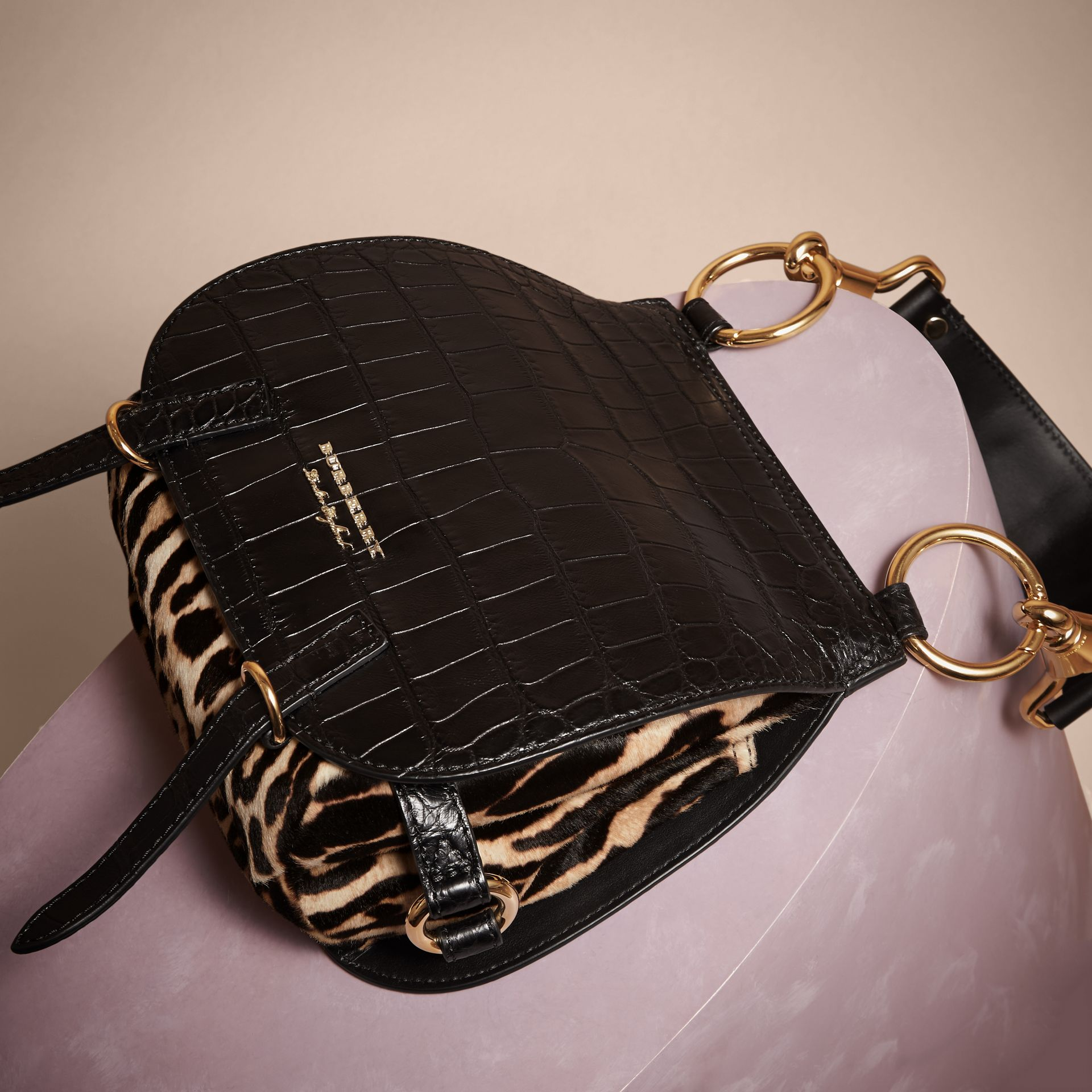 The Bridle Bag in Alligator and Calfskin in Black - Women | Burberry - gallery image 3