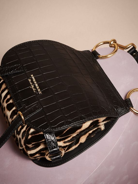 The Bridle Bag in Alligator and Calfskin in Black - Women | Burberry - cell image 2