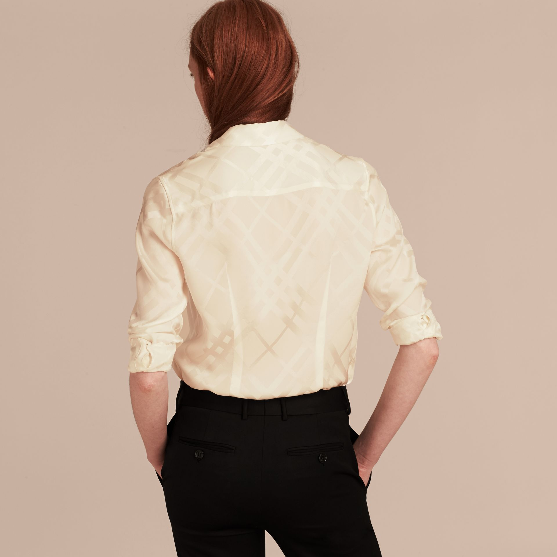 Tonal Check Silk Shirt White - gallery image 3
