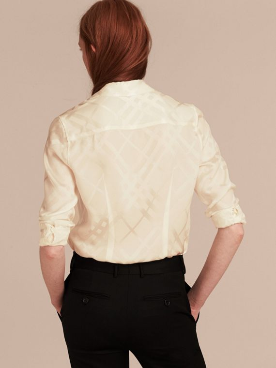 White Tonal Check Silk Shirt White - cell image 2