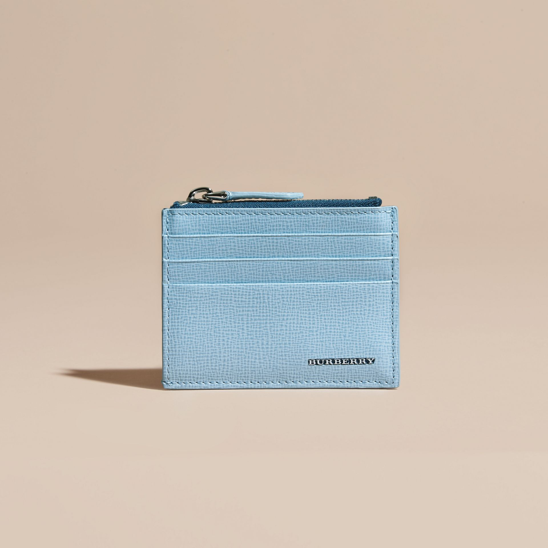 London Leather Zip-top Card Case Powder Blue - gallery image 6