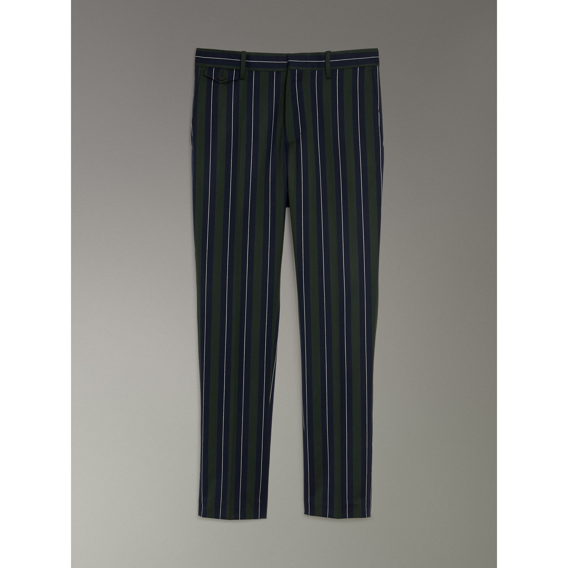 Striped Wool Cotton Tailored Trousers in Dark Forest Green - Men | Burberry - gallery image 3