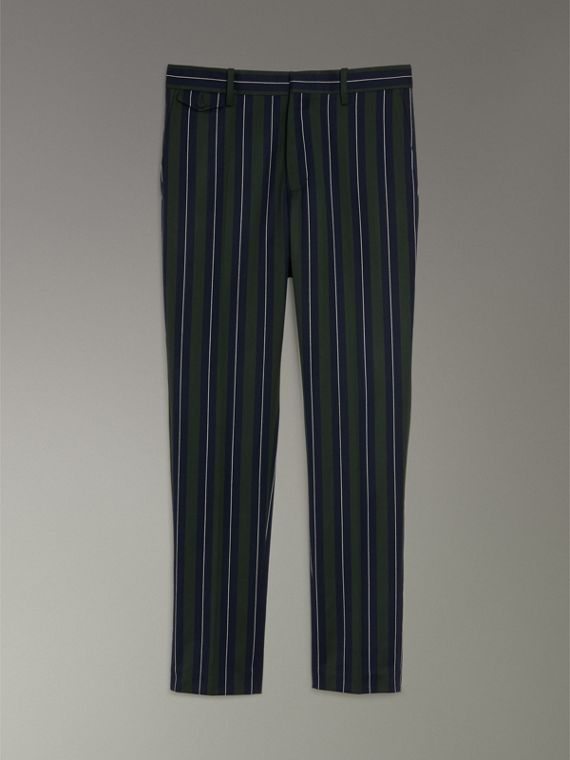 Striped Wool Cotton Tailored Trousers in Dark Forest Green - Men | Burberry - cell image 3