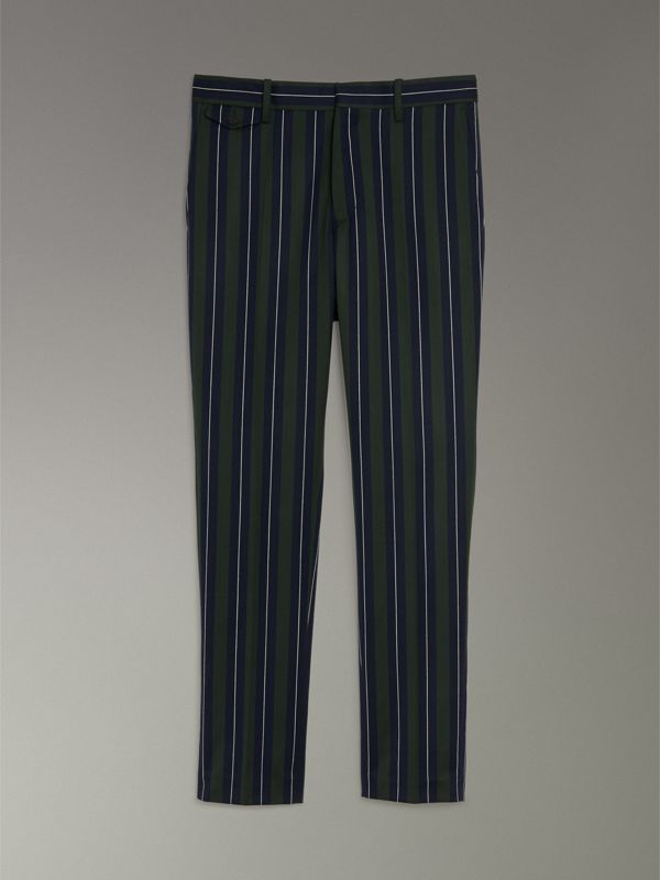 Striped Wool Cotton Tailored Trousers in Dark Forest Green - Men | Burberry Australia - cell image 3