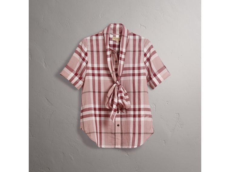 Short-sleeve Check Cotton Tie Neck Shirt in Antique Pink - Women | Burberry - cell image 4
