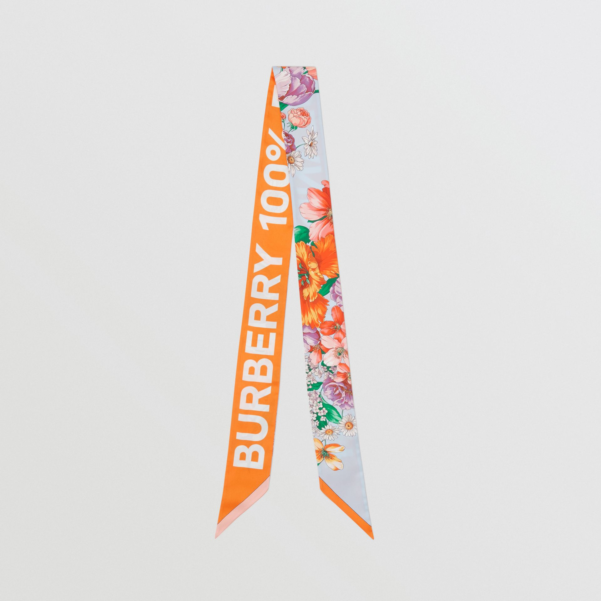 Floral and Logo Print Silk Skinny Scarf in Bright Orange | Burberry - gallery image 0
