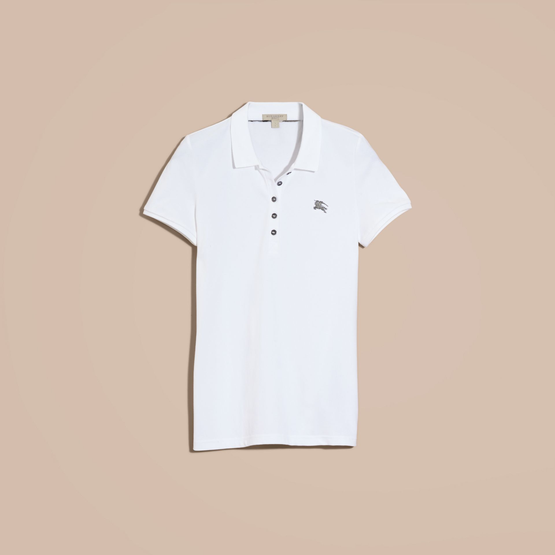 Cotton Piqué Polo Shirt in White - gallery image 4