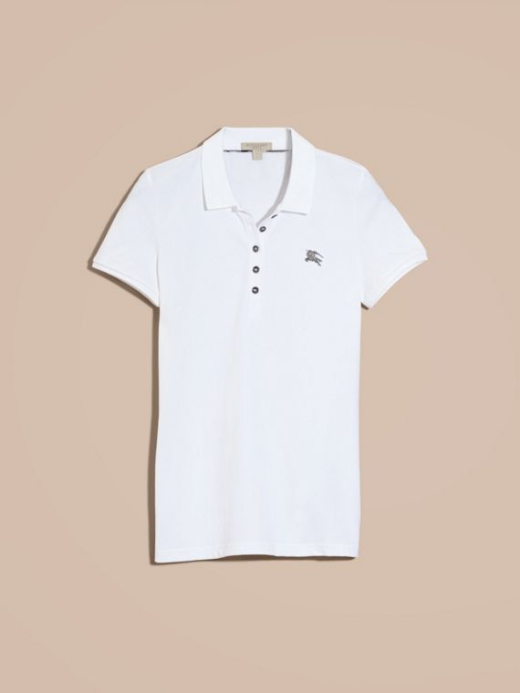 Cotton Piqué Polo Shirt in White - cell image 3