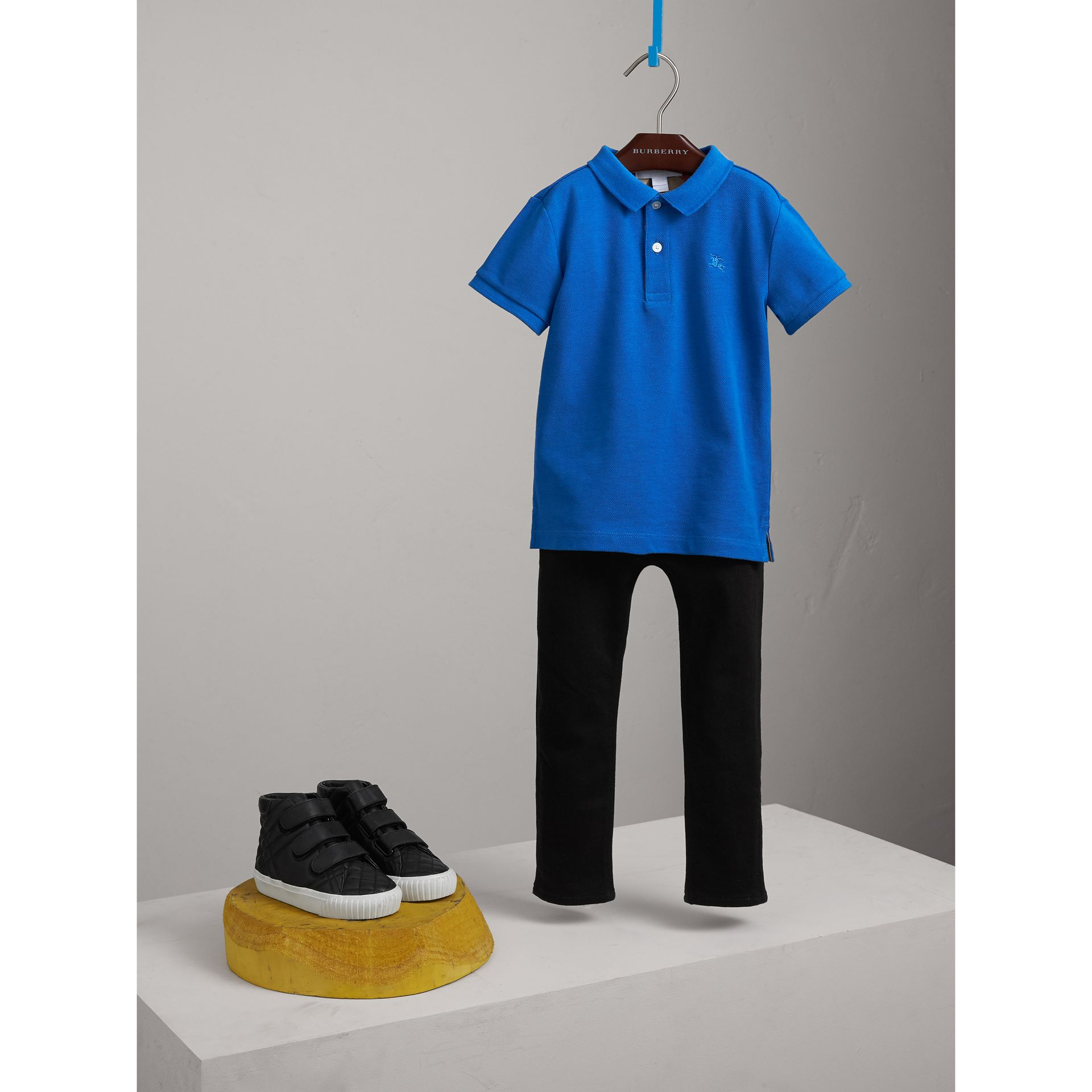 Check Placket Polo Shirt in Cobalt Blue - Boy | Burberry Australia - gallery image 1