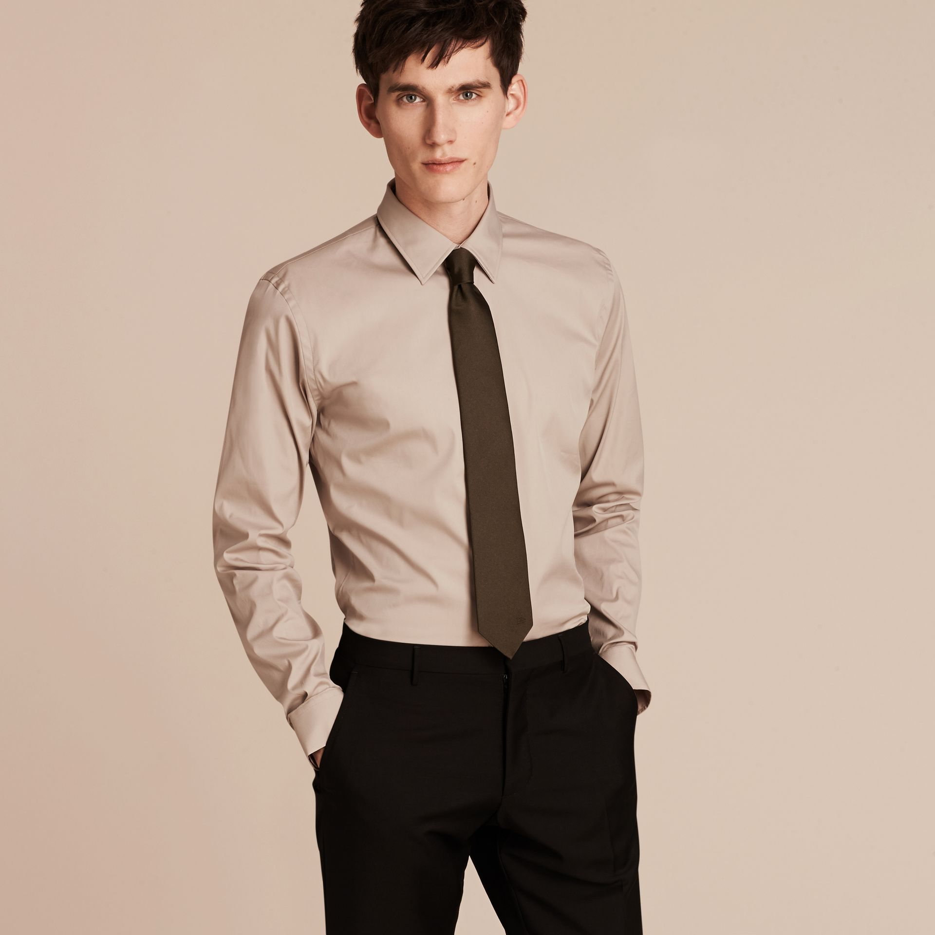 Taupe Slim Fit Stretch Cotton Blend Shirt Taupe - gallery image 1