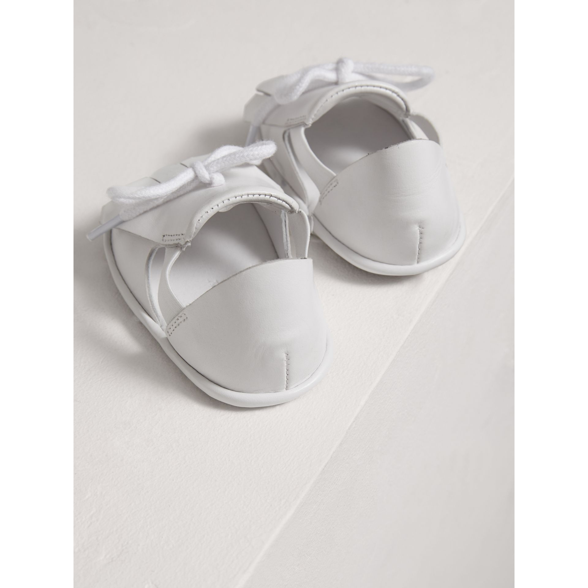 Kiltie Fringe Leather Sandals in Optic White - Children | Burberry - gallery image 2