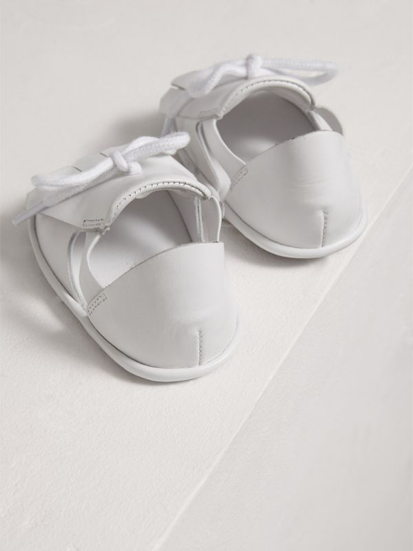 Kiltie Fringe Leather Sandals in Optic White - Children | Burberry - cell image 2