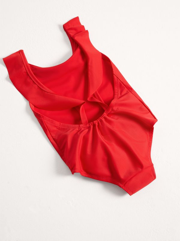 Ruffle Detail One-piece Swimsuit in Poppy Red - Girl | Burberry Canada - cell image 2