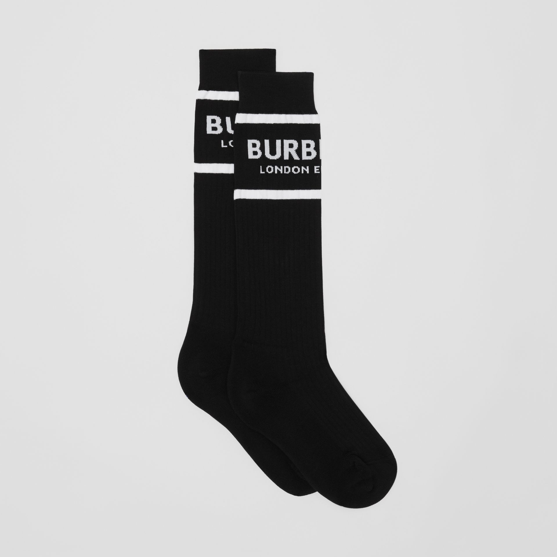 Logo Intarsia Cotton Blend Socks in Black | Burberry - gallery image 2