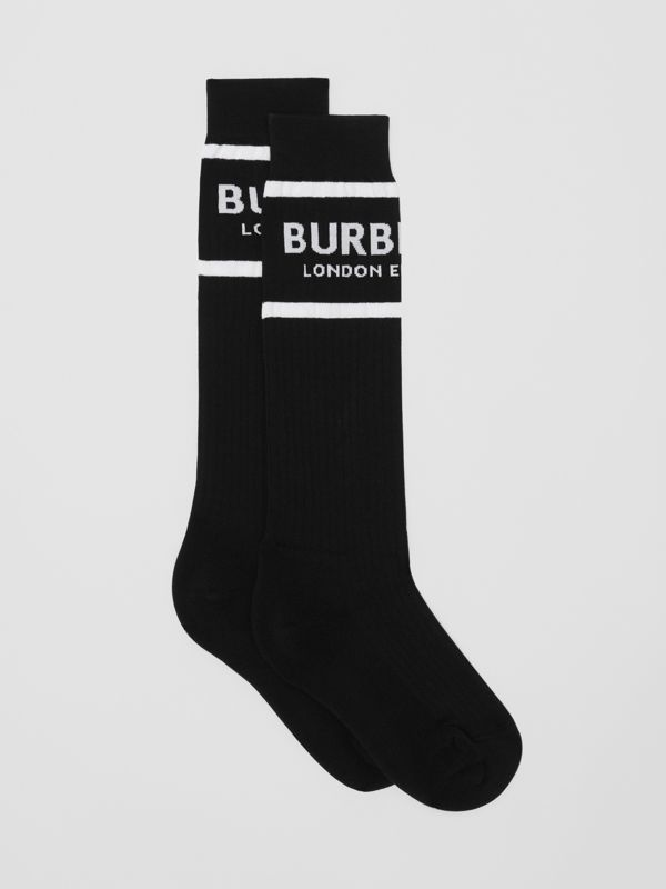 Logo Intarsia Cotton Blend Socks in Black | Burberry - cell image 2