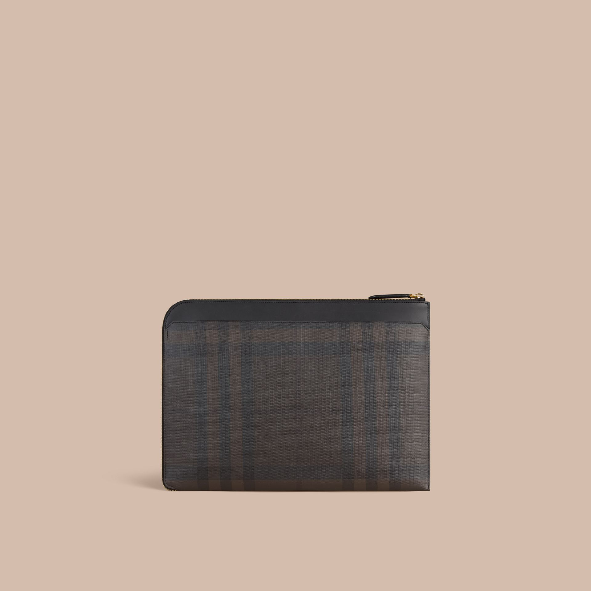 London Check Document Case in Black/chocolate - gallery image 5