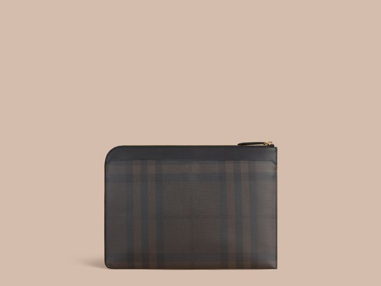 London Check Document Case in Black/chocolate - cell image 4