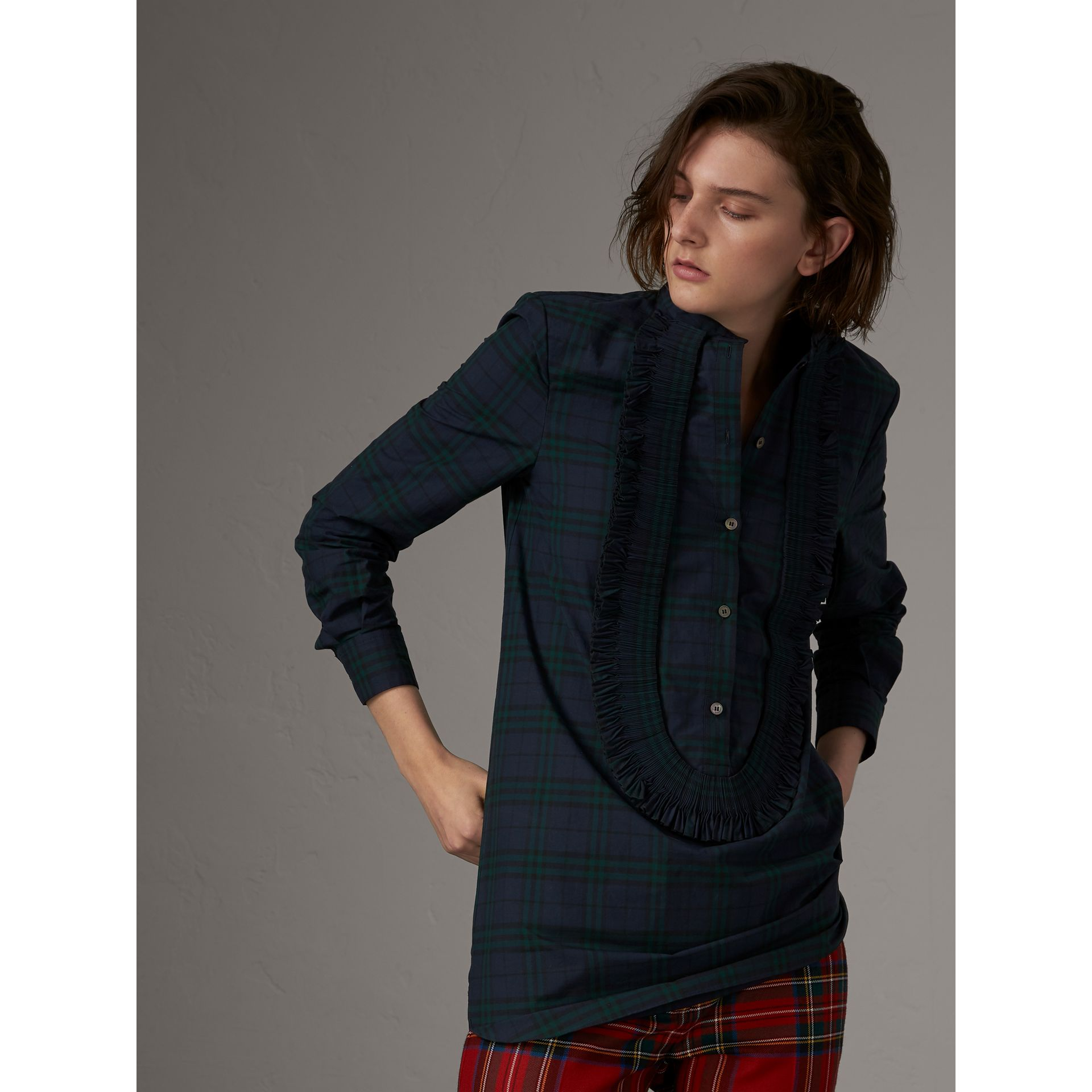 Ruffle Detail Check Cotton Tunic Shirt in Ink Blue - Women | Burberry - gallery image 1