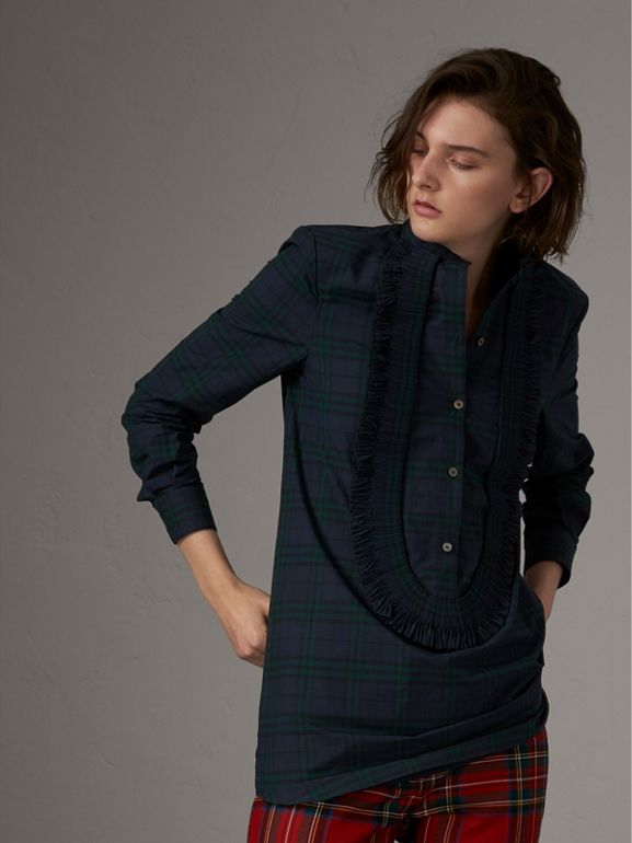 Ruffle Detail Check Cotton Tunic Shirt in Ink Blue - Women | Burberry - cell image 1