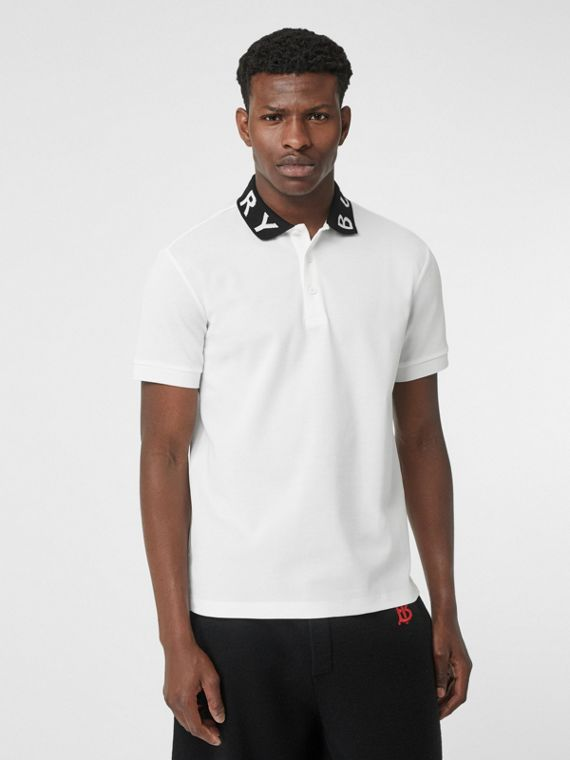 Logo Intarsia Cotton Piqué Polo Shirt in White
