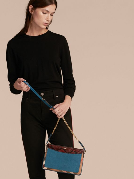 Leather, House Check and Snakeskin Clutch Bag in Peacock Blue - Women | Burberry - cell image 3