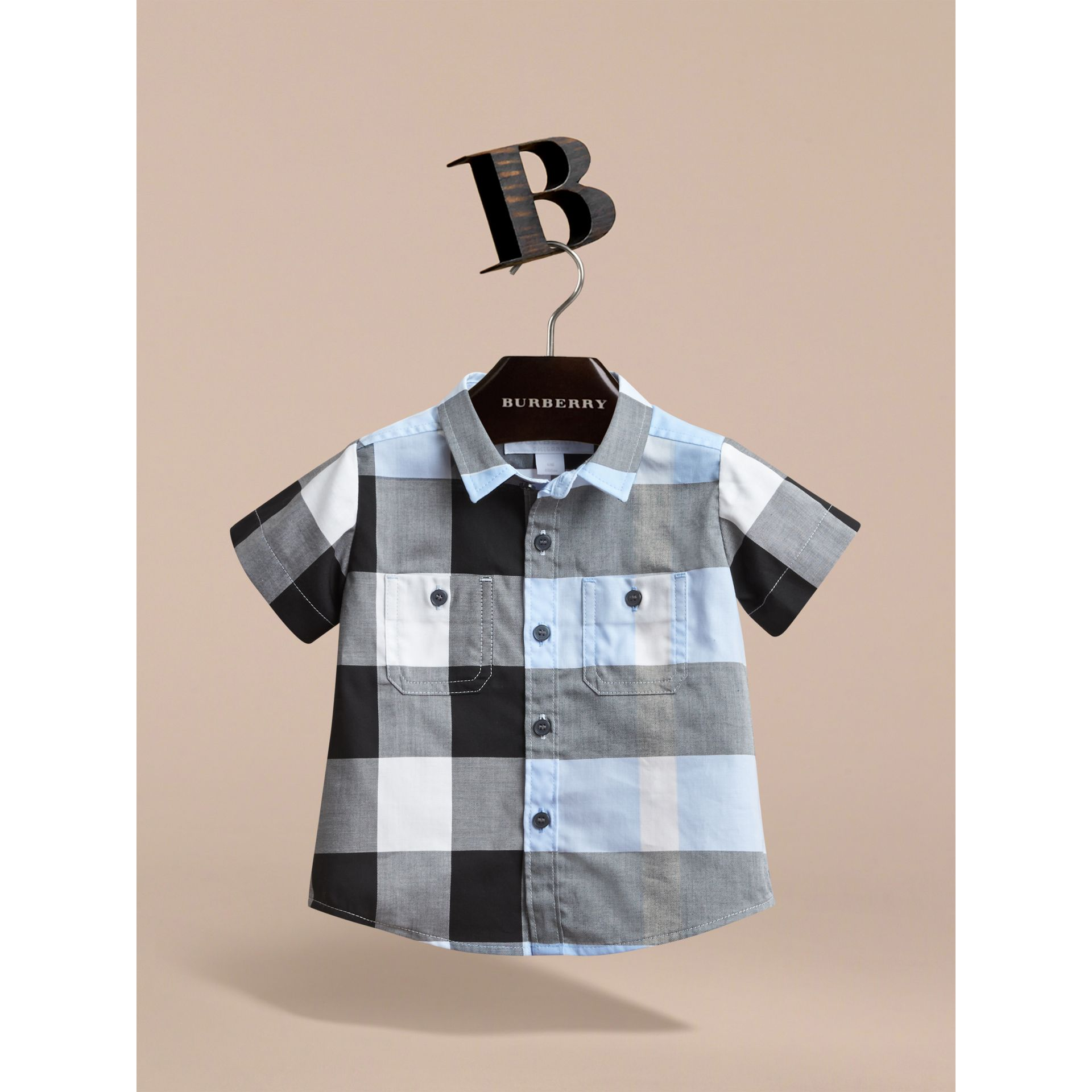 Short-sleeve Check Cotton Shirt in Sky Blue | Burberry - gallery image 2