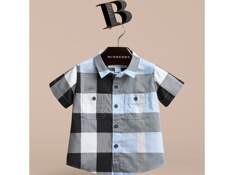 Short-sleeve Check Cotton Shirt in Sky Blue | Burberry - cell image 1