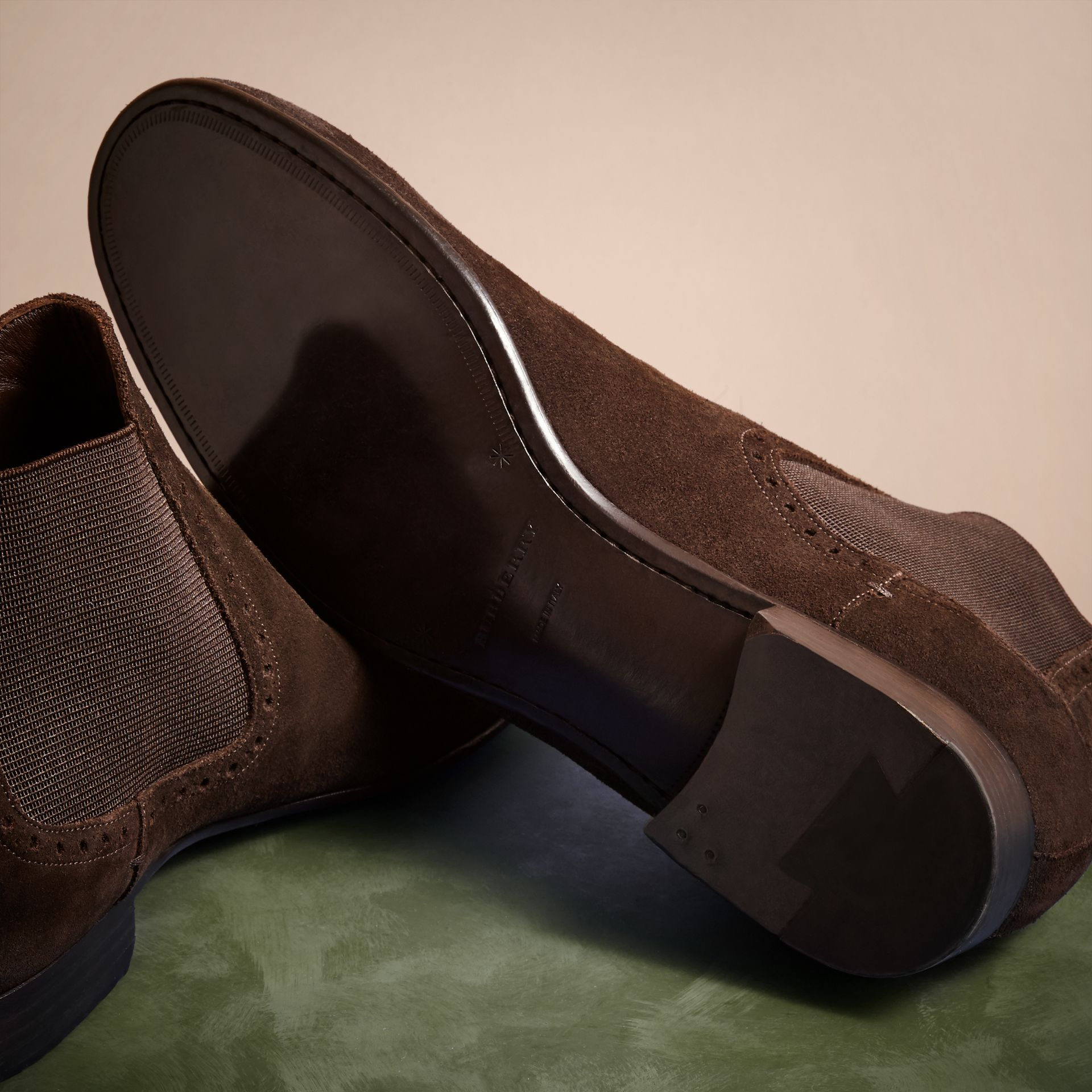 Peat brown Washed-suede Chelsea Boots with Leather Soles - gallery image 5