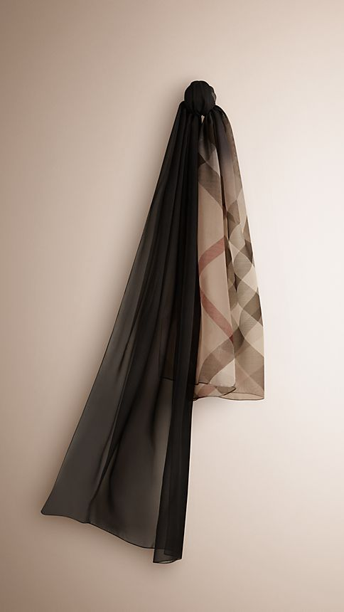 Black check Check Ombre Silk Scarf - Image 1