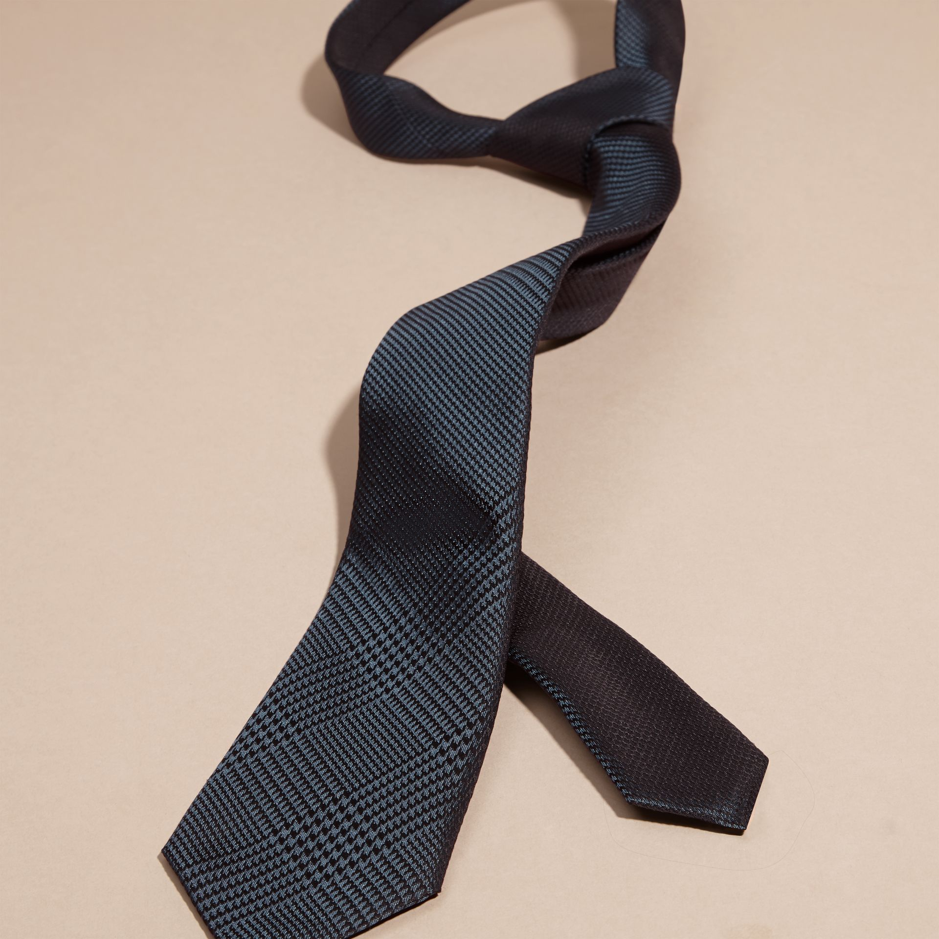 Modern Cut Check Silk Tie in Storm Blue - gallery image 3