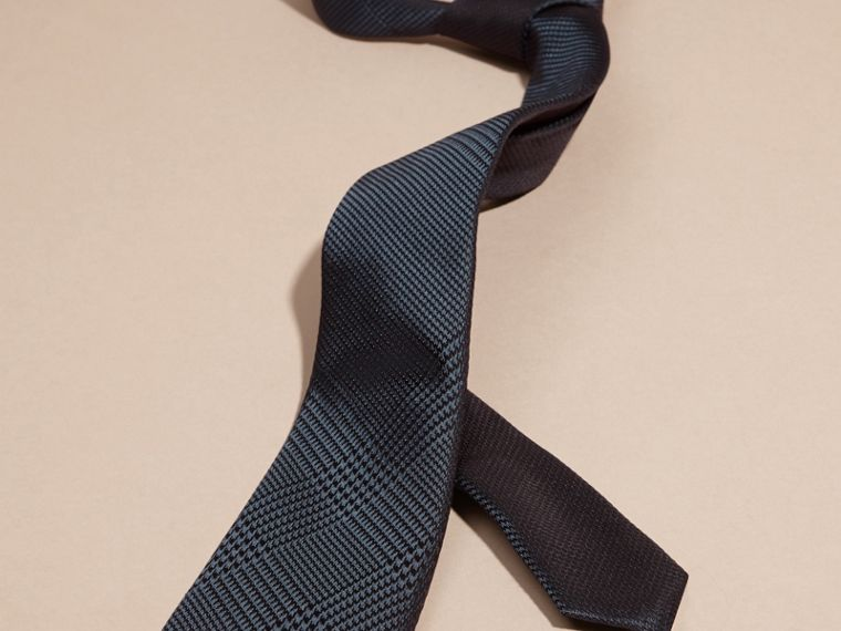 Modern Cut Check Silk Tie in Storm Blue - cell image 2