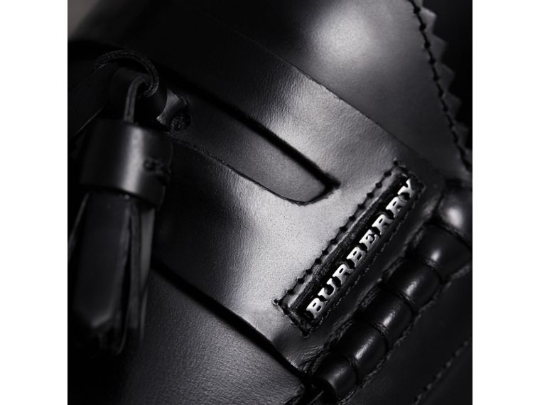 Tasselled Polished Leather Loafers in Black - Men | Burberry - cell image 1