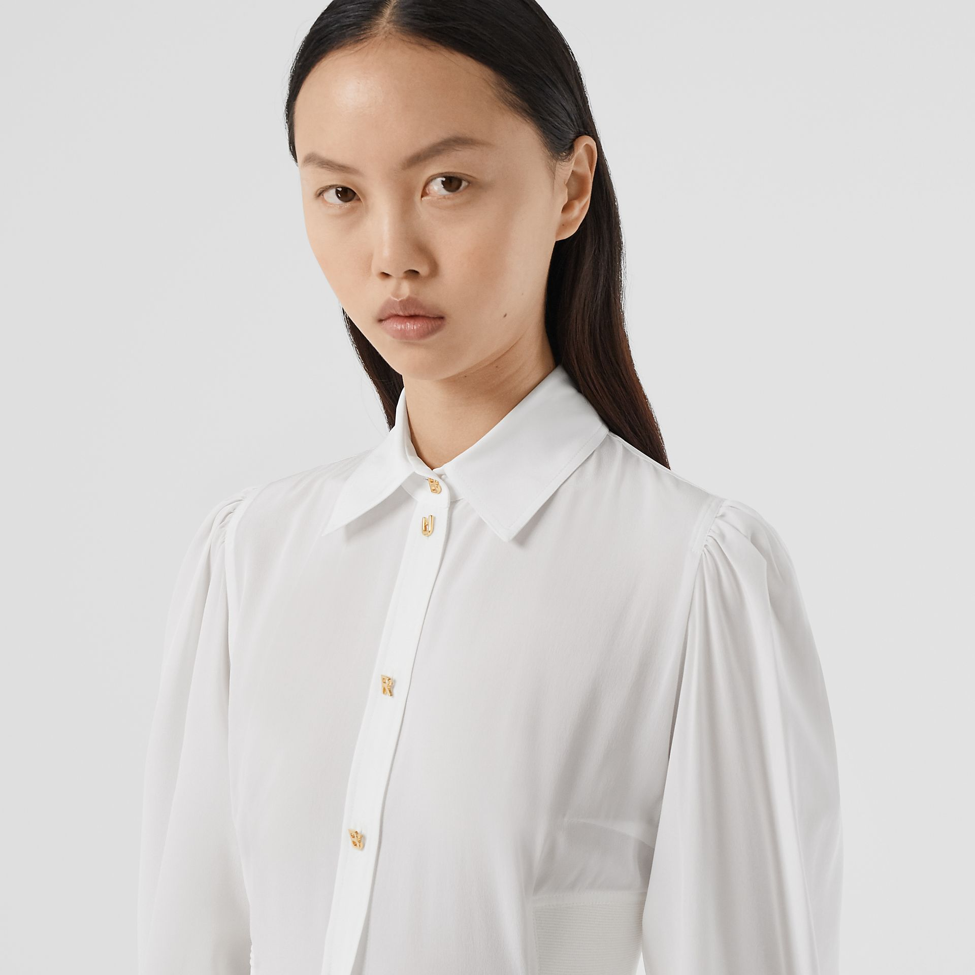 Logo Detail Cut-out Silk Shirt in Optic White - Women | Burberry - gallery image 1